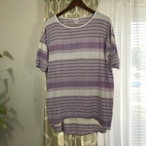 LulaRoe Purple striped Tee XS
